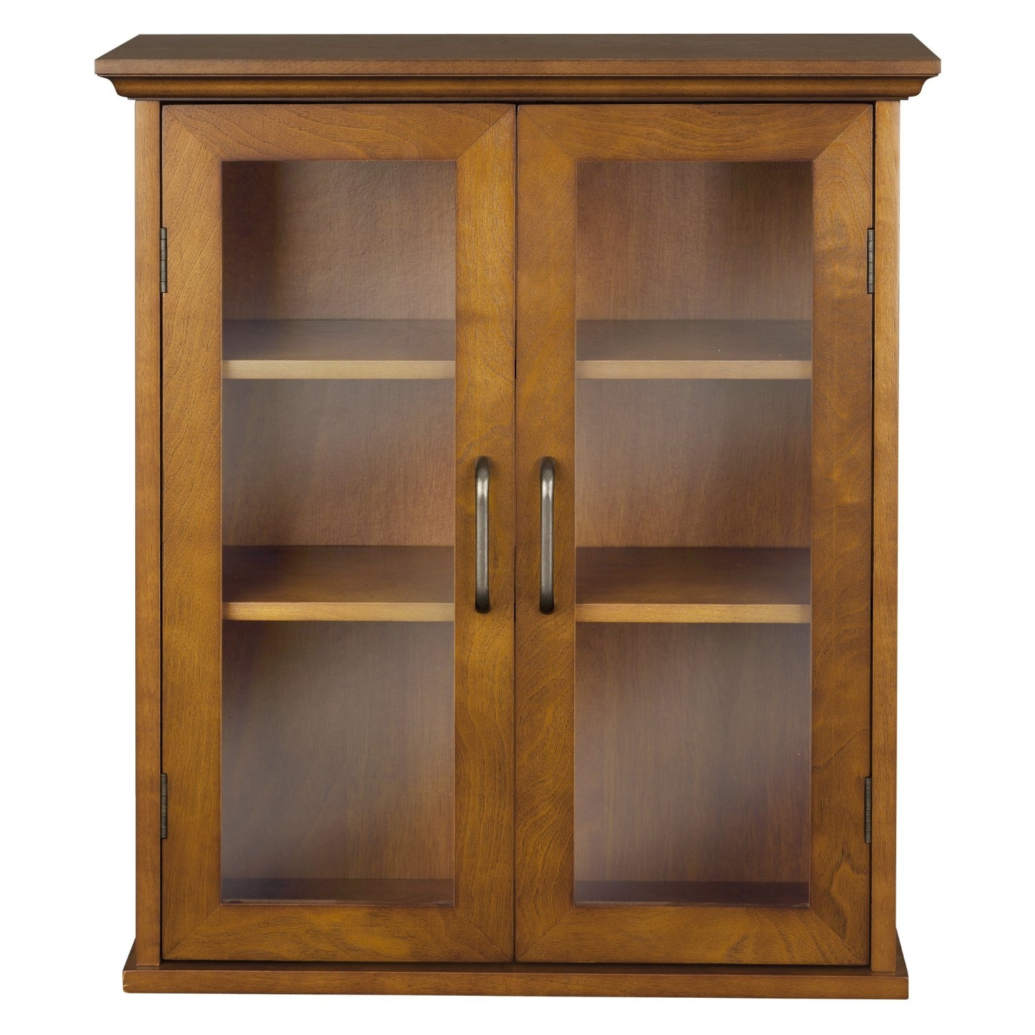Oak Finish Bathroom Wall Cabinet with Glass 2-Doors & Shelves ...