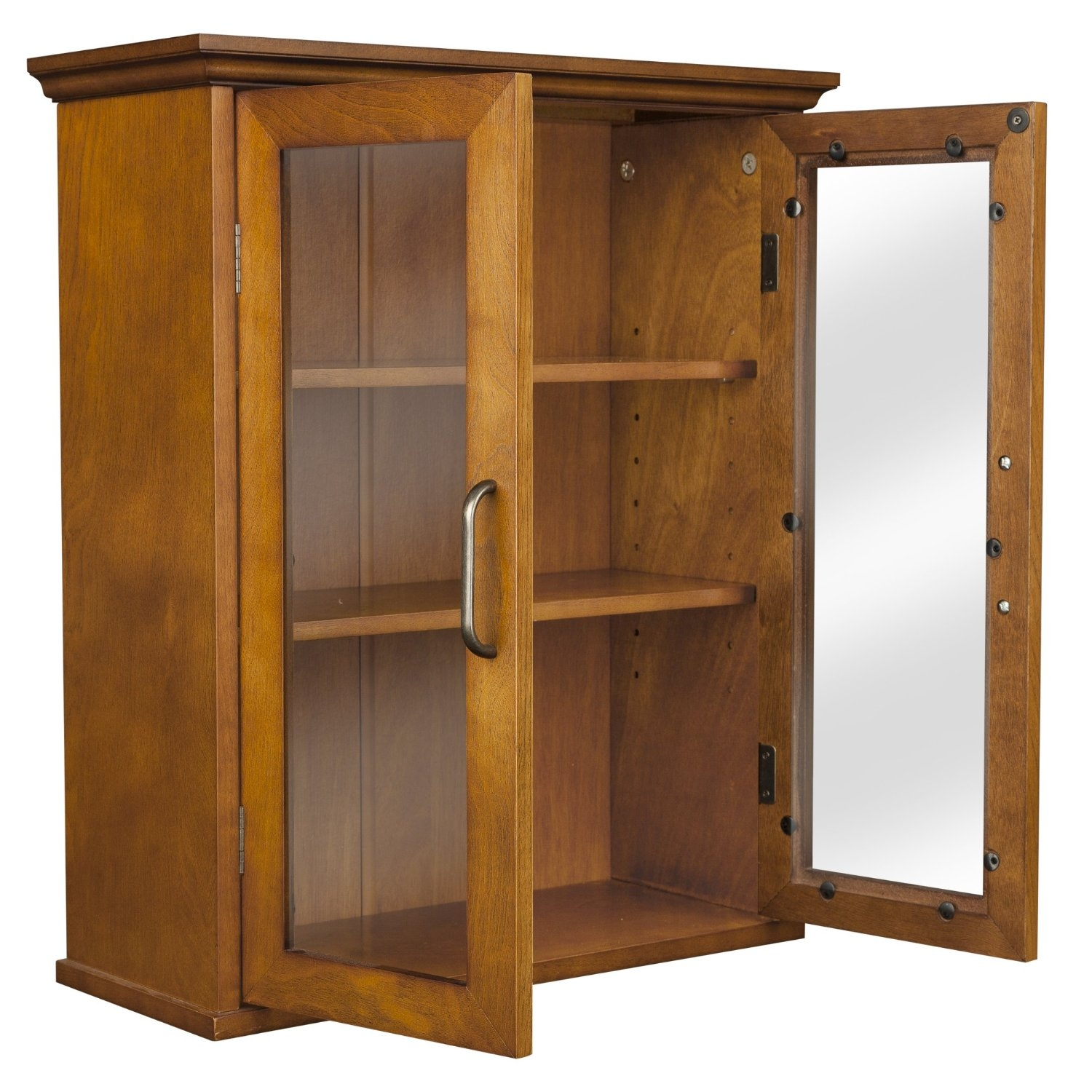 Oak finish bathroom wall cabinet with glass 2 doors shelves for Best finish for bathroom cabinets