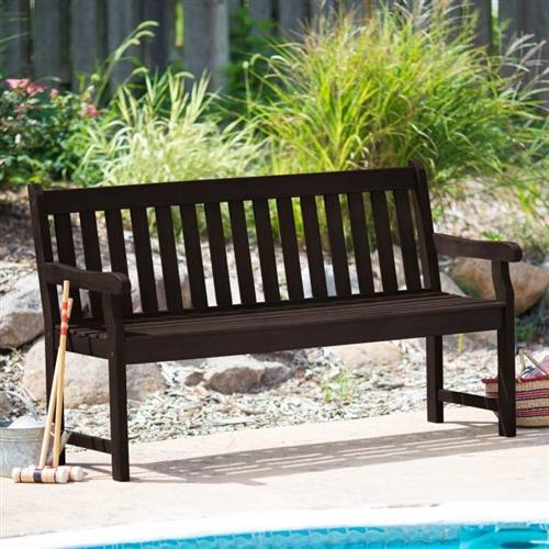 Weather Resistant Outdoor Wood 5 Ft Garden Bench In Dark