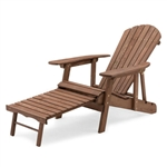 Dark Brown Wood Outdoor Adirondack Chair with Retractable Footrest Ottoman
