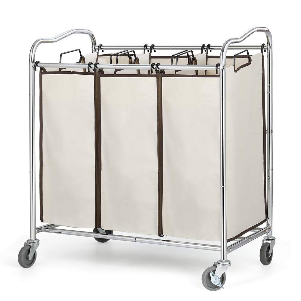 Heavy Duty Laundry Cart with 3 Cream Tan Hamper Bags and Lockable Wheels