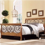 Queen size Metal and Wood Sleigh Bed in Autumn Brown Honey Oak Finish