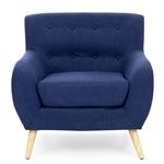 深蓝色亚麻软垫簇绒扶手椅,具有现代中世纪风格的木脚