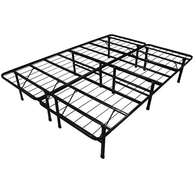 goplus black queen size metal bed frame mattress platform