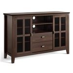 Dark Brown Solid Wood 35-inch High TV Stand with Glass Panel Doors