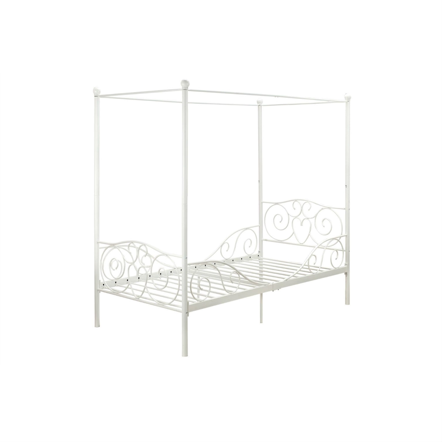 - Twin Size White Metal Canopy Bed With Heart Scroll Design