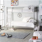 Twin over Twin Durable Metal Bunk Bed with Ladder in Silver Finish