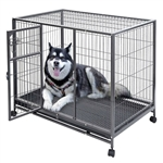 Large 44'' x 29'' Non-Toxic Steel Metal Wire Dog Crate Cage on Wheels