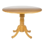Round 42-inch Drop-Leaf Dining Table in Oak Wood Finish