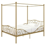 Full size Heavy Duty Metal Canopy Bed Frame in Gold Finish