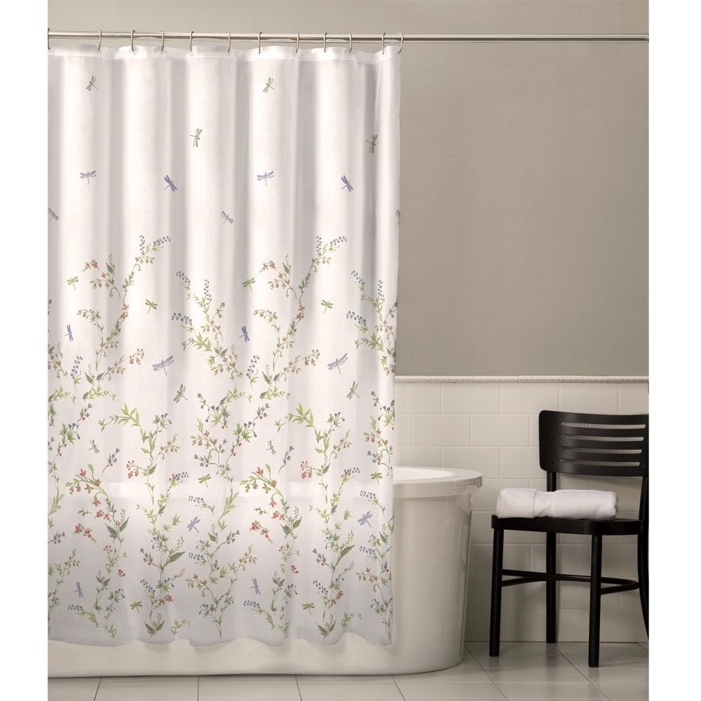 Floral Dragonfly Polyester Machine Washable Shower Curtain ...