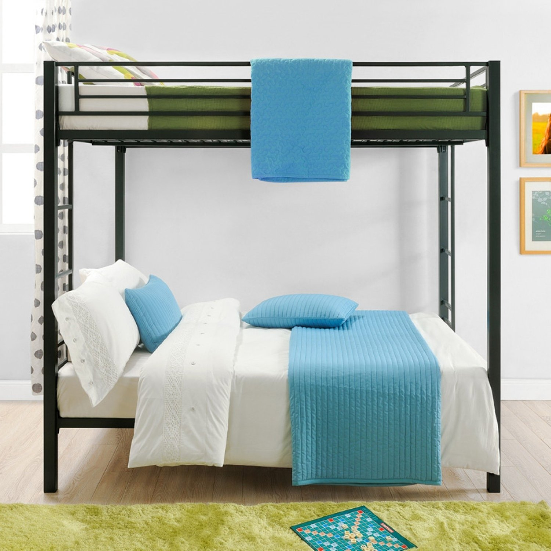 Full Over Full Size Sturdy Black Metal Bunk Bed Fastfurnishings Com
