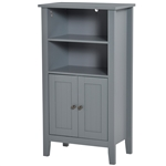 Gray 2 Tier Shelf Hidden Storage Bathroom Floor Cabinet