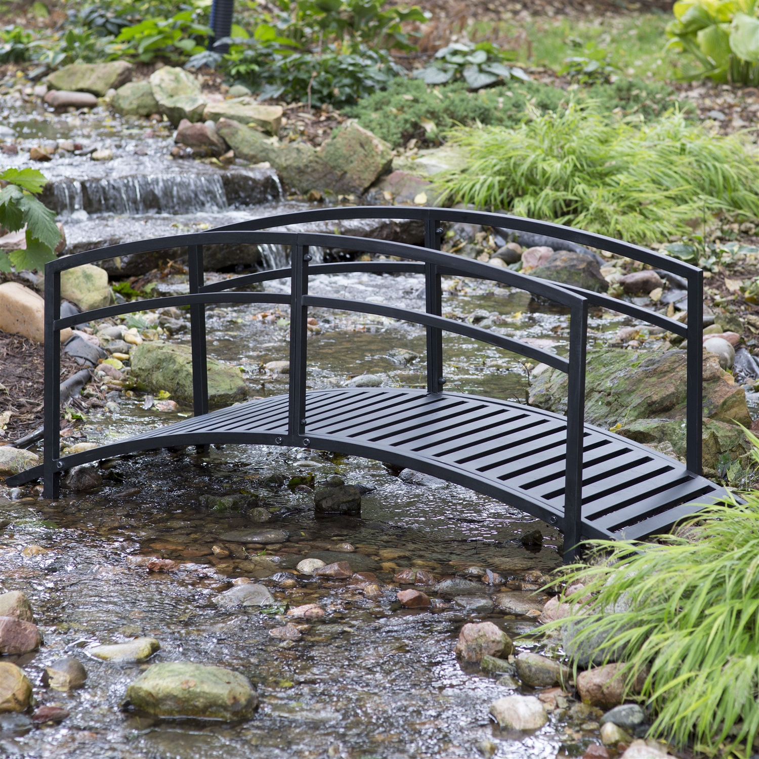 Slatted Room Divider Sturdy 6 Foot Black Metal Garden Bridge With Double Arch