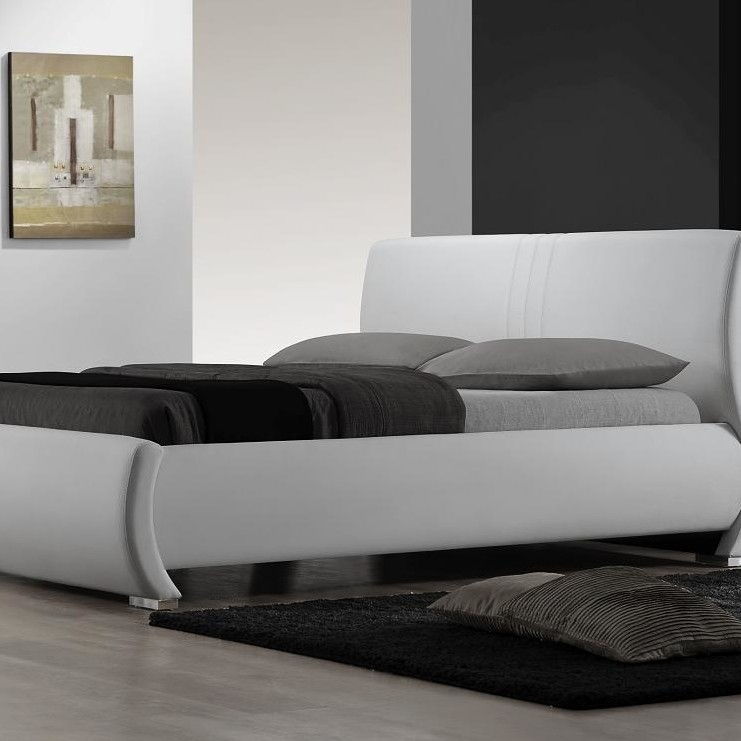 King Size White Upholstered Platform Bed With Curved Headboard Fastfurnishings Com