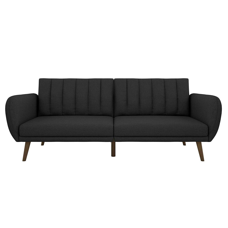 Incredible Dark Grey Linen Futon Sofa Bed With Modern Mid Century Style Wooden Legs Ibusinesslaw Wood Chair Design Ideas Ibusinesslaworg