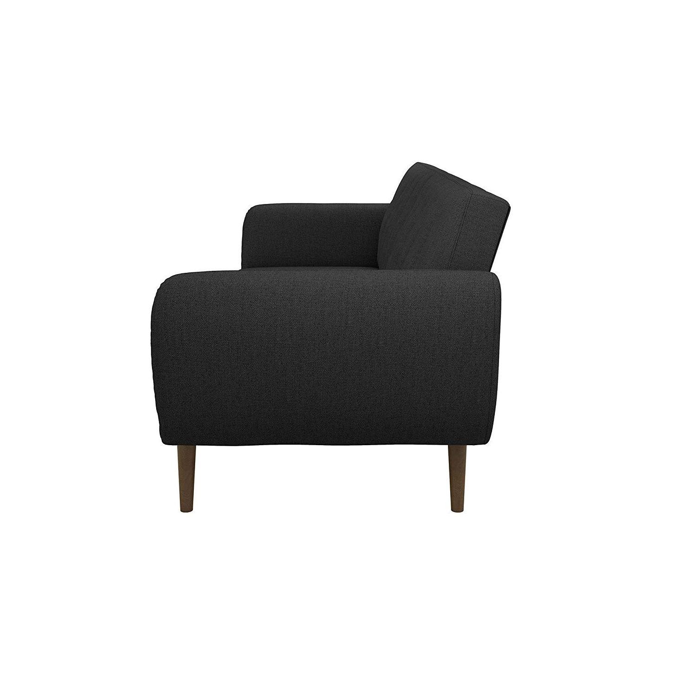 Astonishing Dark Grey Linen Futon Sofa Bed With Modern Mid Century Style Wooden Legs Ibusinesslaw Wood Chair Design Ideas Ibusinesslaworg