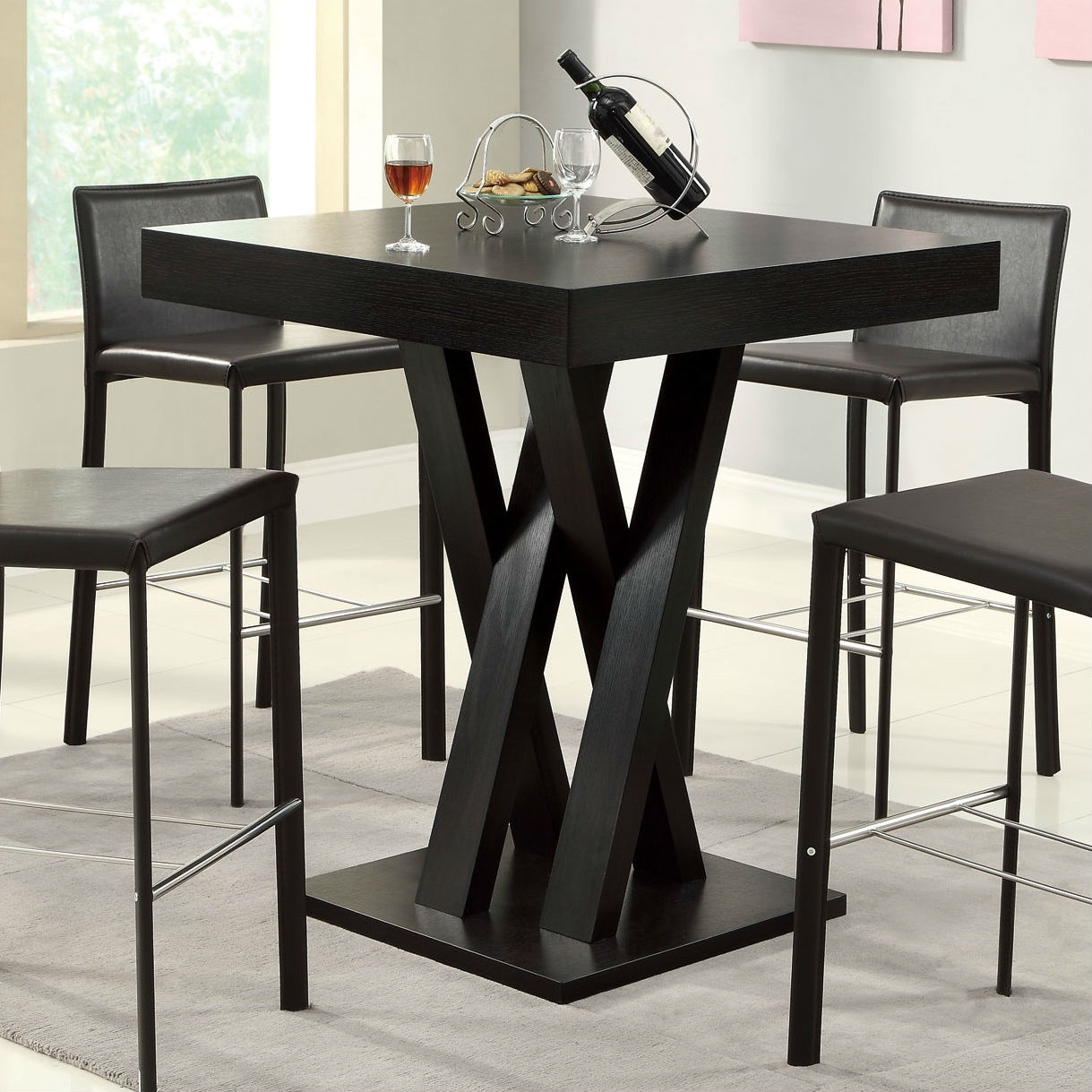 modern 40 inch high square dining table in dark cappuccino finish. Black Bedroom Furniture Sets. Home Design Ideas