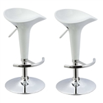Set of 2 Modern Adjustable Height Barstools in White