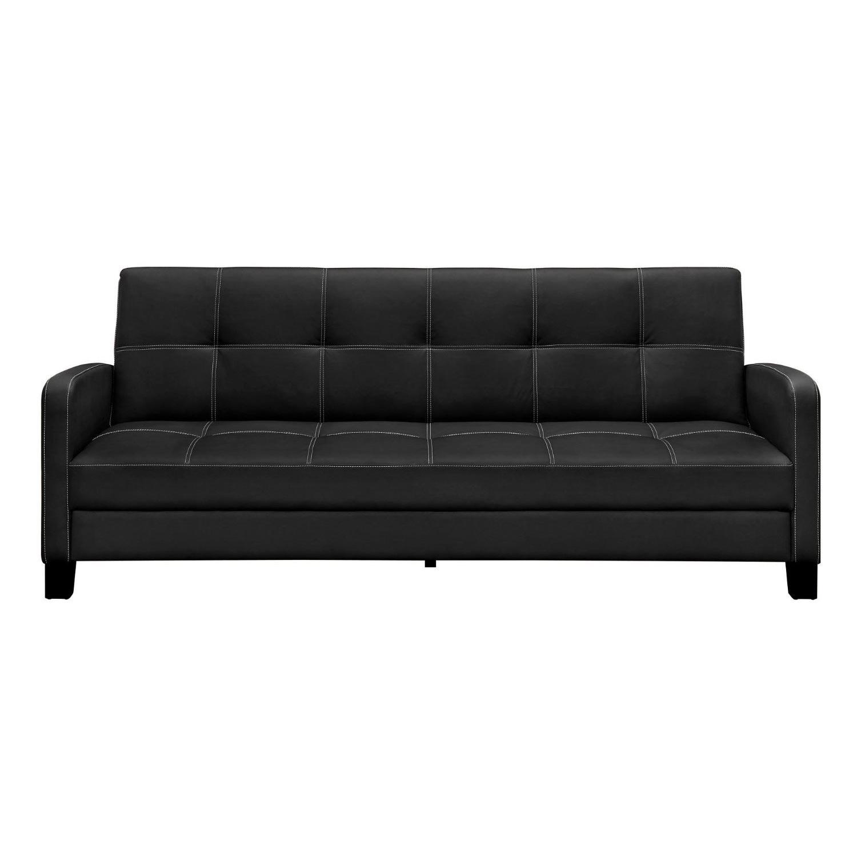 Clic Black Faux Leather Futon Sofa