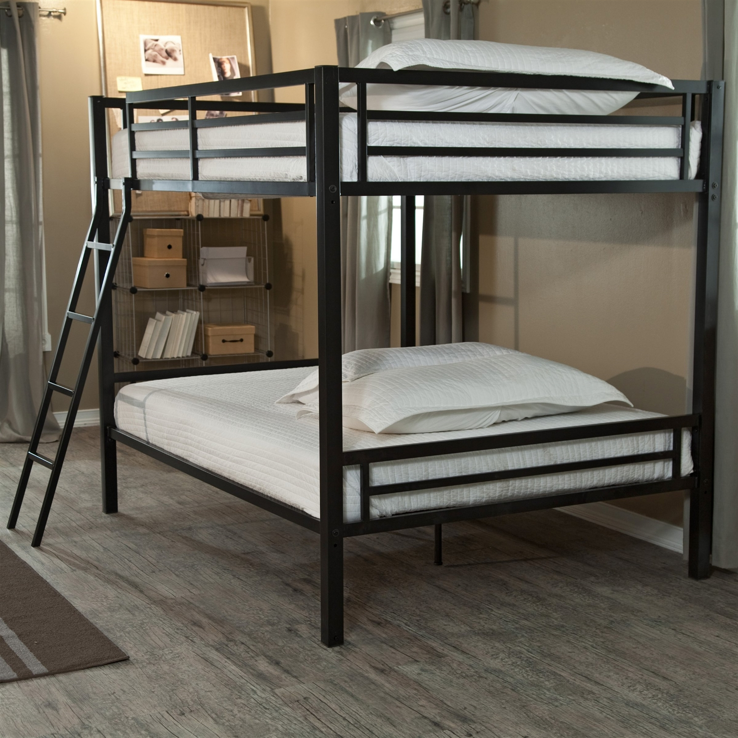 Full Over Full Bunk Bed With Ladder And Safety Rails In Black Metal