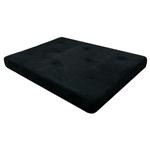 全尺寸英寸厚蒲团床垫,黑色超细纤维被褥套