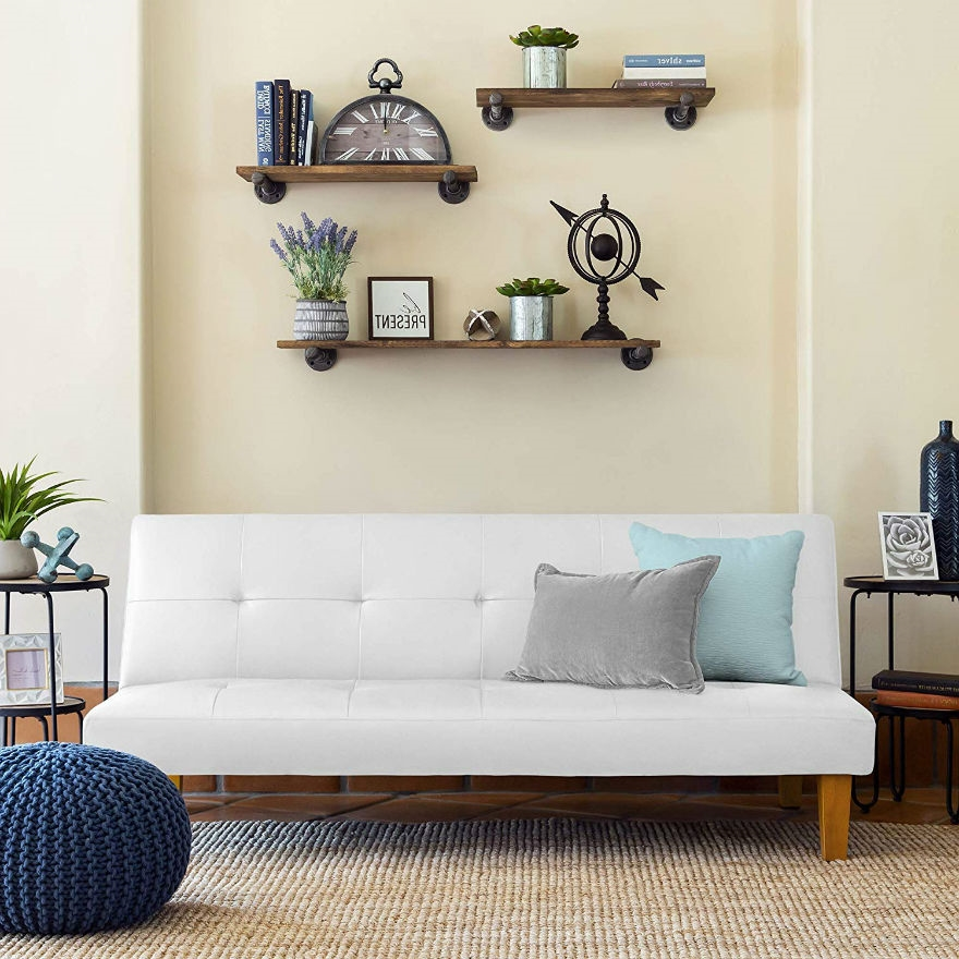 White Click Clack Faux Leather Futon Sofa Bed FastFurnishingscom
