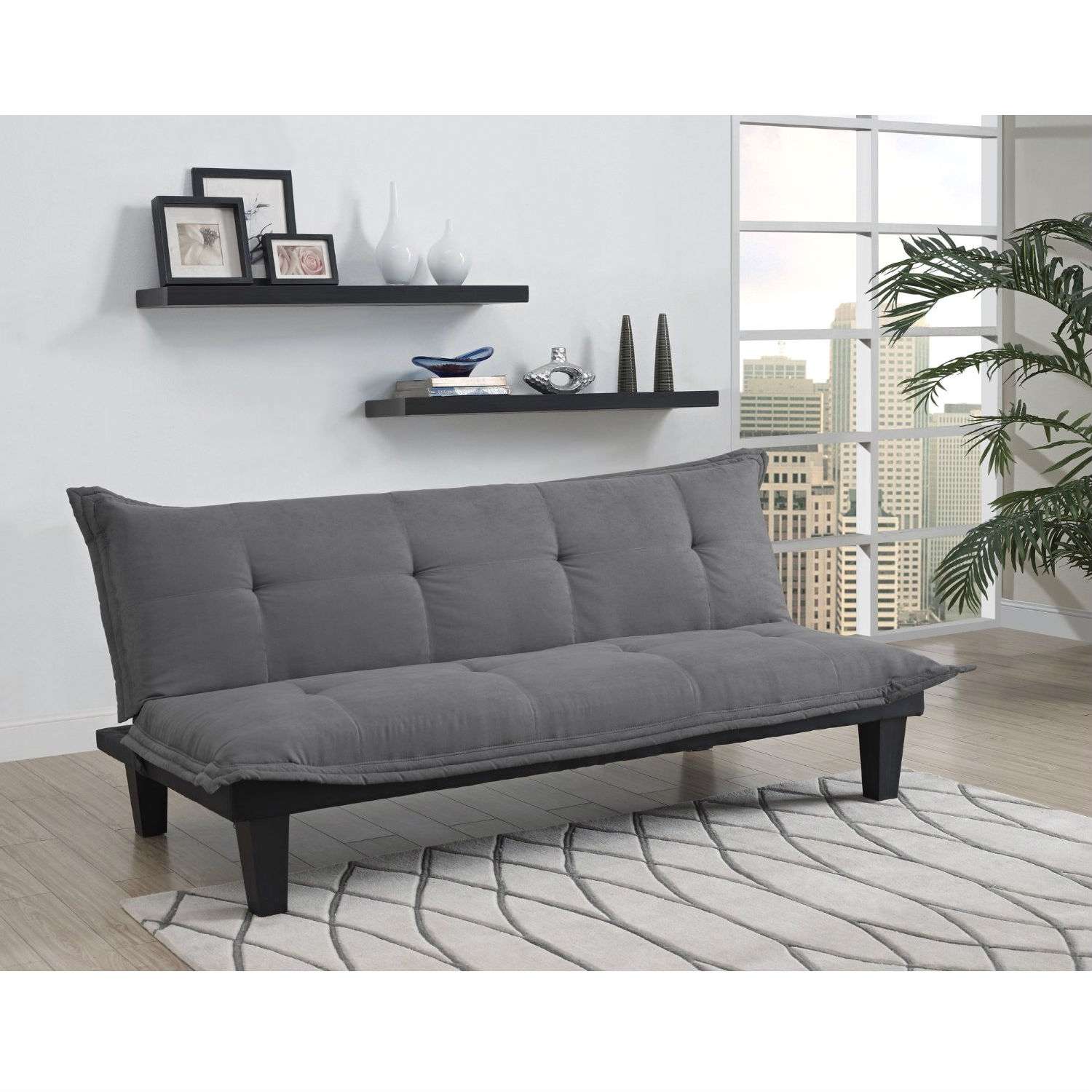 Charcoal Microfiber Clack Futon Sofa Bed Lounger