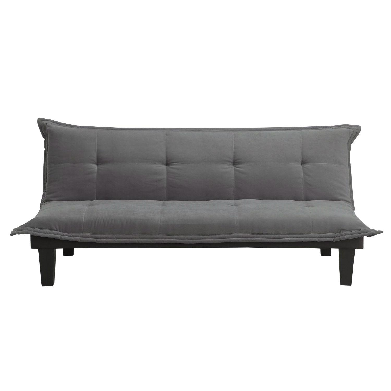 Charcoal Microfiber Clack Futon Sofa Bed Lounger