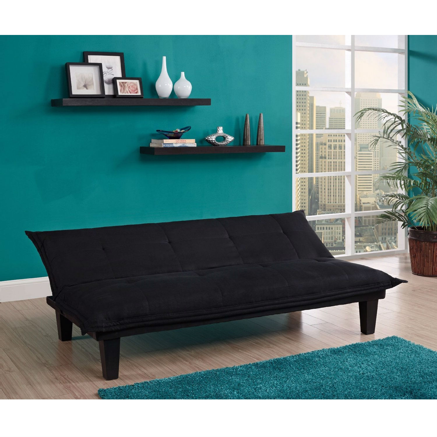 Black Microfiber Click-Clack Sleeper Sofa Bed Futon Lounger
