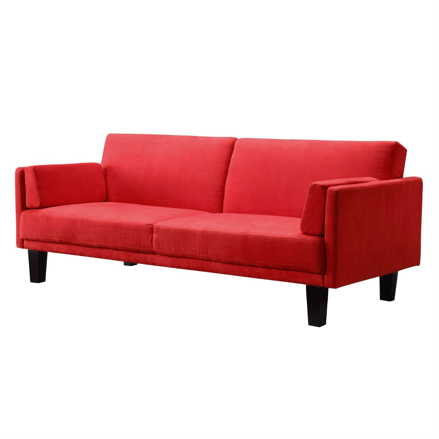 Contemporary Mid-Century Style Sofa Bed in Red Microfiber Upholstery ...