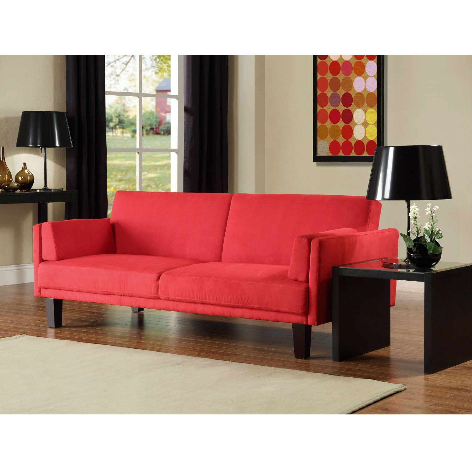 Contemporary Mid Century Style Sofa Bed in Red Microfiber
