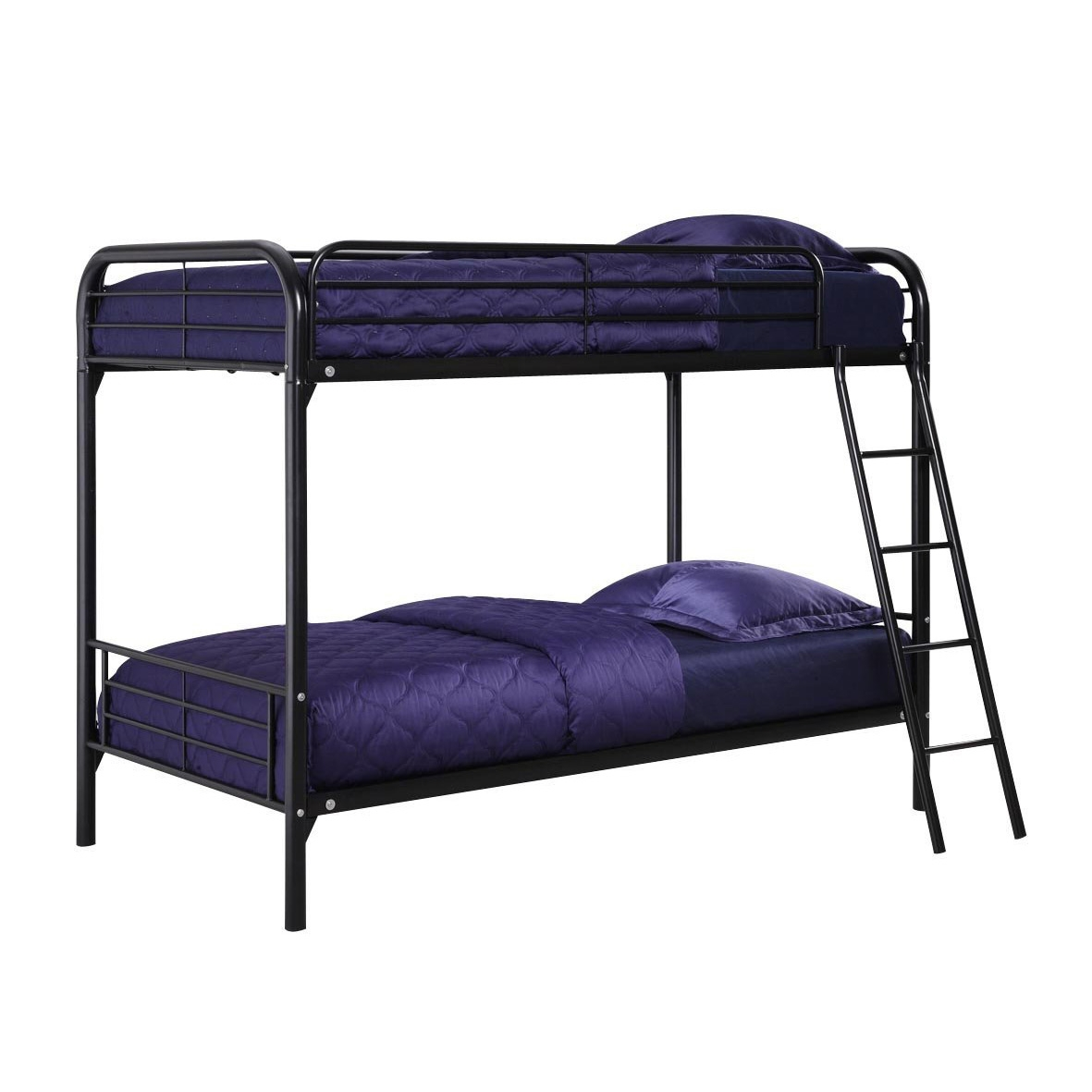 Picture of: Twin Over Twin Bunk Bed With Ladder In Black Metal Fastfurnishings Com