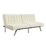 Split-back Modern Futon Style Sleeper Sofa Bed in Vanilla Faux Leather