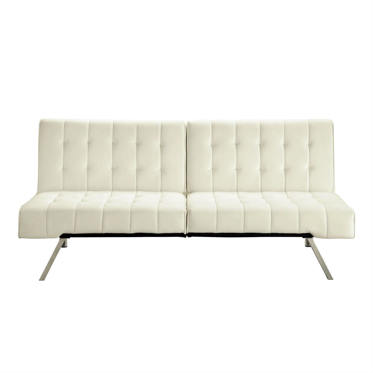 Split back Modern Futon Style Sleeper Sofa Bed in Vanilla Faux
