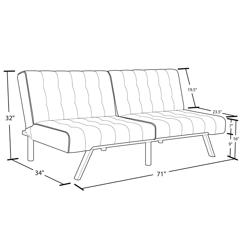 Split back Modern Futon Style Sleeper Sofa Bed in Vanilla Faux