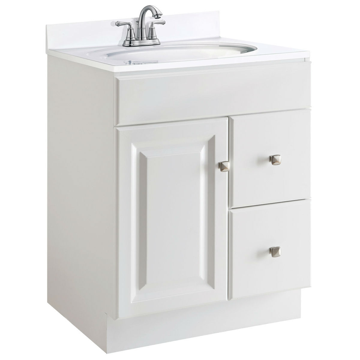 24-inch Modern Bathroom Vanity Cabinet Base in White Semi-Gloss ...