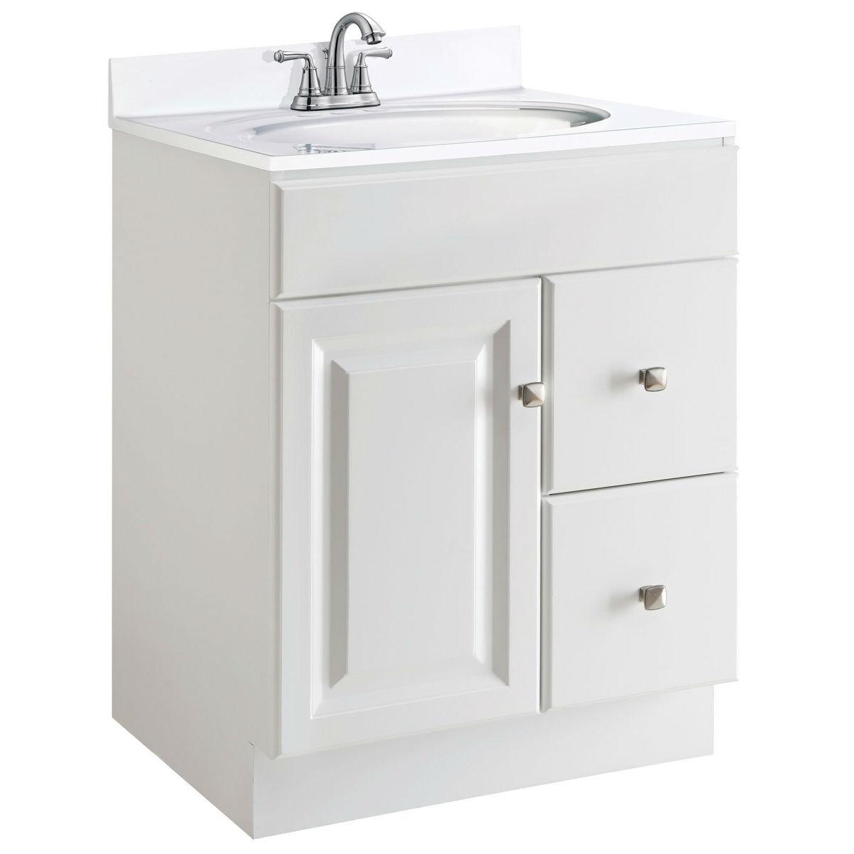 24 Inch Modern Bathroom Vanity Cabinet Base In White Semi Gloss Fastfurnishings Com