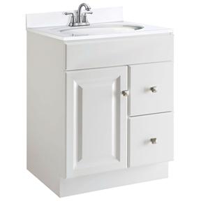 24 Inch Modern Bathroom Vanity Cabinet Base In White Semi