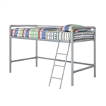 Twin size Bunk Bed Style Metal Loft Bed in Silver