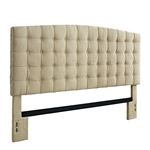 King size Button Tufted Padded Headboard Upholstered in Beige Microfiber