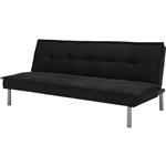 黑色超细纤维软垫被褥沙发床,带金属脚