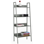 Modern Industrial Style 4-Shelf Metal Bookcase