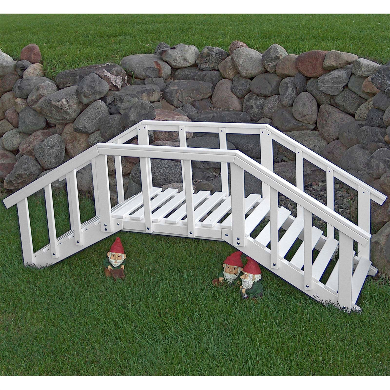 Decorative 6.5-ft White Wood Garden Bridge with Rails in Durable ...