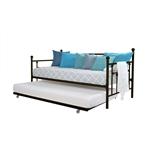 双人金属坐卧两用沙发床,配有拉出式铜制床