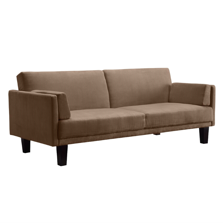 - Modern Tan Microfiber Upholstered Futon Style Sleeper Sofa Bed