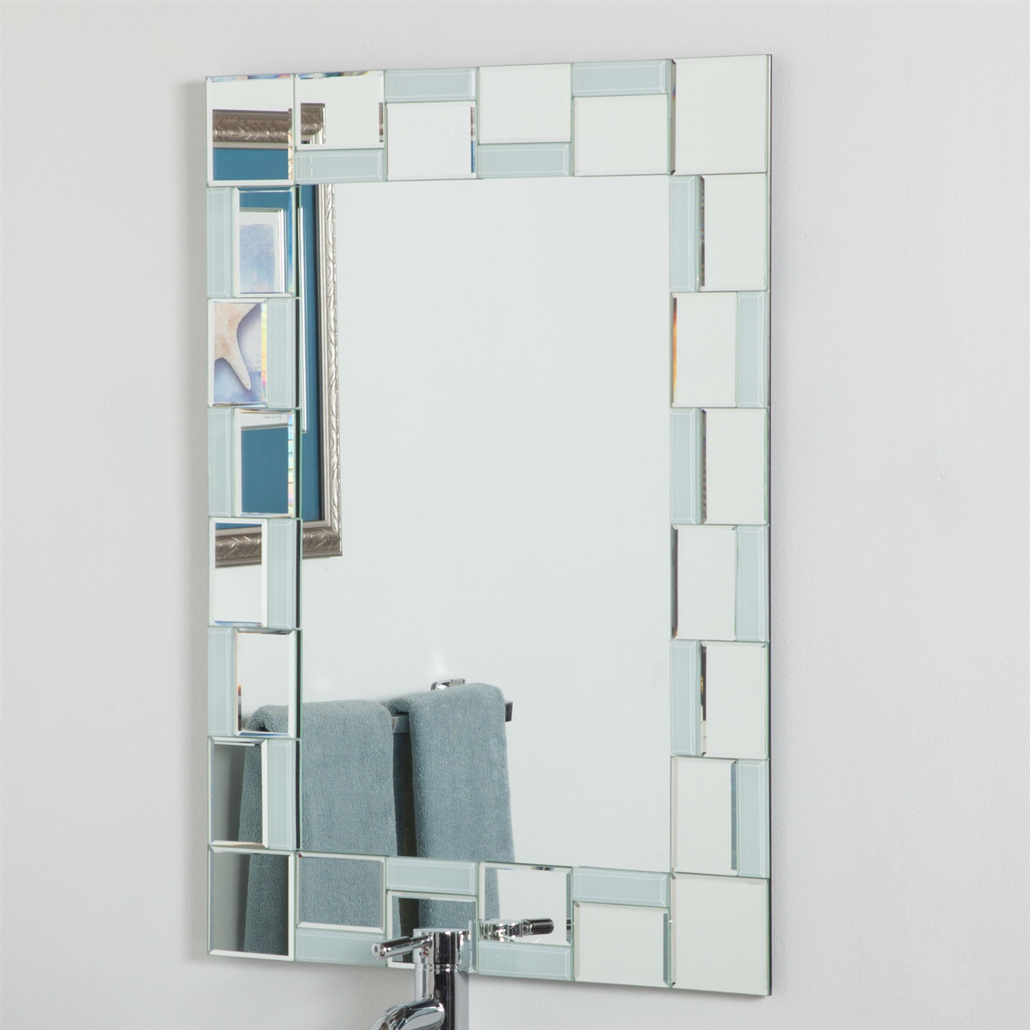 Contemporary 315 X 236 Inch Rectangle Bathroom Mirror With Hand Cut Mirrors Edging