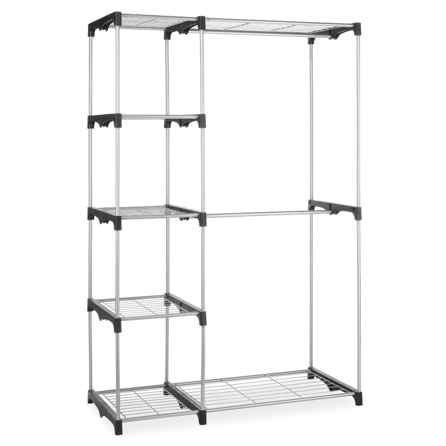 Ordinaire Freestanding Closet Organizer Garment Rack Storage Unit With Hanging Rods