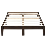 Full size Solid Wood Platform Bed Frame in Dark Brown Finish