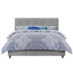 Queen size Grey Linen Upholstered Platform Bed with Button-Tufted Headboard